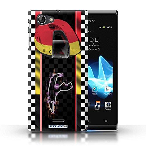 Kobalt® Imprimé Etui / Coque pour Sony Xperia J (ST26i) / USA/Austin conception / Série F1 Piste Drapeau Belgique/Spa