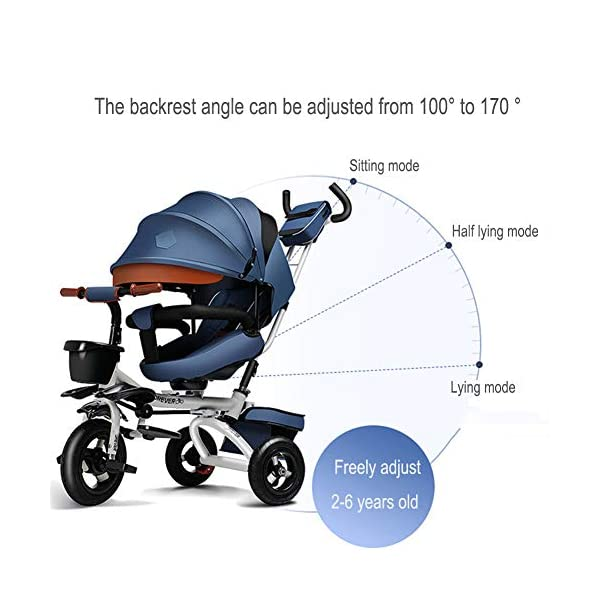 GSDZSY - Luxury 4 IN 1 Foldable Children Tricycle Stroller,360° Swivel Seat,With Detachable Push Rod And Awning,Seat And Handlebars Can Be Adjusted,Luxury Comfort Seat,18-60 Months,Blue_1A GSDZSY ❀ Material: High carbon steel + ABS + Rubber wheel, suitable for children from 1- 6 years old, maximum load 50 kg ❀ Features: The push rod can be adjusted heights; the seat can be rotated 360 to facilitate communication between mother and baby; adjustable parasol for different weather conditions ❀ Performance: high carbon steel frame, stronger and stronger bearing capacity; Rubber wheel is non-slip wearable suitable for all kinds of road conditions, seat is made of breathable fabric, baby ride is more comfortable 4