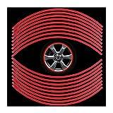 DDG EDMMS 18 Rad reflektierende Aufkleber Universalreifen reflektierenden Streifen decal Band Dekorfolie Auto Fahrrad Motorrad 6 mm (rot)