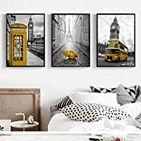 woplmh 3 Pieces Yellow Telephone Booth Big Ben Bus Canvas Poster and Umbrella,Eiffel Tower Art Prints Wall Picture-60x80cm60x80cmx3pcs No frame