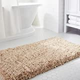 Norcho Soft Area Rug with Non-slip Rubber, Luxury Bathroom Decor for Livingroom Bedroom, Machine Washable 80 x 50cm Khaki