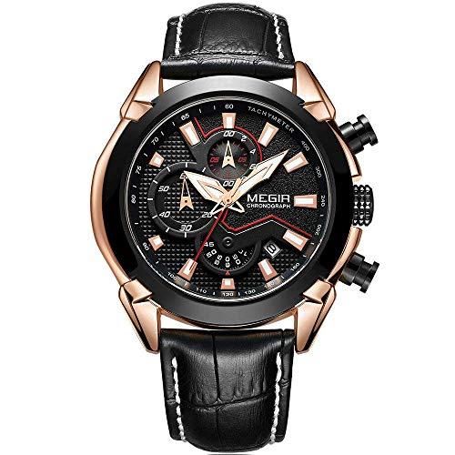 Megir pour Homme Sports chronographe Montres à Quartz Noir avec Bande de Cuir décontractée Montre-Bracelet Lumineux pour Homme