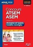 Concours ATSEM et ASEM : Annales et sujets inédits corrigés cat C, concours 2015-2016