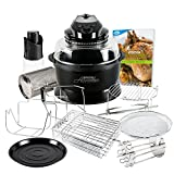 JML Black Halowave Oven Aircooker Deluxe Halogen Cooking With Rotisserie Function 14 Pc Set