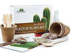 Idea Regalo - Urban Sprout Kit per Il Cactus – Fai Crescere Le tue Piante di Cactus al Chiuso – Un Regalo per Il Giardinaggio inusuale – Semini, vasetti, Terra per Il Cactus