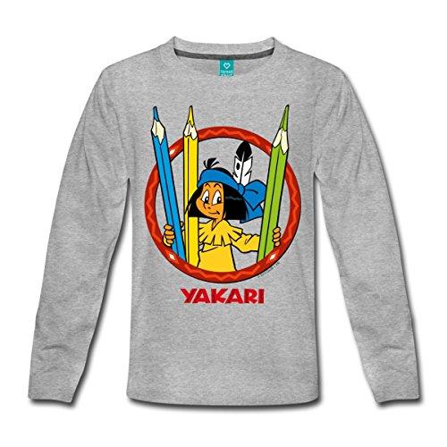 Spreadshirt Yakari Buntstifte Kinder Premium Langarmshirt, 110/116 (4 Jahre), Grau meliert