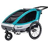 Qeridoo Sportrex2 (2018) Kinder-Fahrradanhänger für 2 Kinder (mit Einstellbarer Federung)