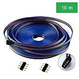 Cooligg 10m 4 polig LED RGB Verlängerungskabel Verbinder vom DE Händler, LED Anschluss Kabel für 4pin LED SMD 5050 3528 2835 Streifen Strip, LED Zubehör, Rechnung per Email