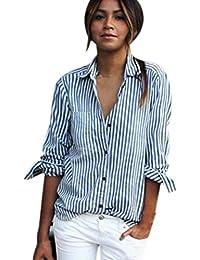 vovotrade Las mujeres de rayas de manga larga blusa suelta Tops