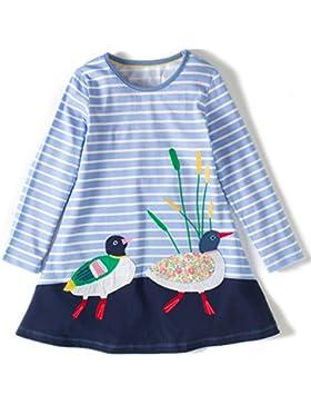 Kaily Mädchen Baumwolle Langarm Tiere Mustern T-shirt Kleid