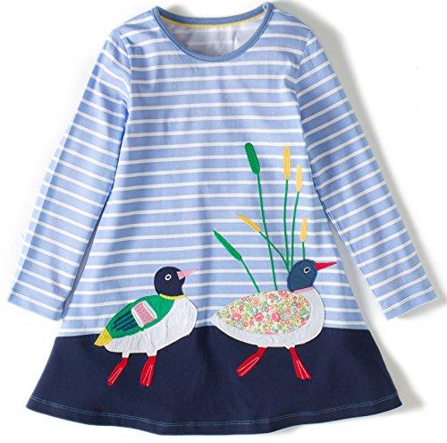 olle Langarm Tiere Mustern T-shirt Kleid(1738005TZ,2T(2-3Jahre)) (Bis Kleider)