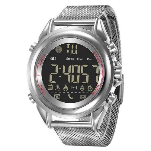 Personifizieren Sie Unisex Electronic Fitness Digital Sport Bluetooth Smart Watch Leben Wasserdicht Schrittzähler Remote Kamera Eingehenden Anruf Oder Nachricht Alarm Smartwatch ( Color : Silver ) Alloy Digital Kamera