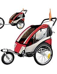 Remolque de bicicleta ebikeco 4 Rojo, suspension, rueda 360º, 2 plazas 504S-01