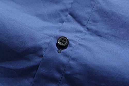 SSLR Homme Chemise Business Manche Longue Uni Col Doublé Bleu