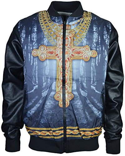Mens Summer Light Wight Zipper Jacket Faux Imitation Leather Sleeves Hip Hop With Christian Cross Logo