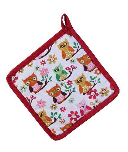 Homescapes Topflappen Eule, rot orange weiß ca. 20 x 20 cm, Untersetzer aus 100% reiner Baumwolle mit Polyesterfüllung, waschbarer Topfuntersetzer
