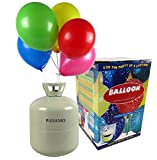 Helium - Marken Ballongas PASAMO – 0,45 m³ Einwegflasche z.B. für ca. 50 Luftballons als witziger Partyspaß - Partyzubehör – Flasche reicht für viele Ballons !