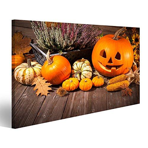 wand Herbst Stillleben mit Halloween Kürbisse auf alten hölzernen Hintergrund Wandbild Leinwandbild Bilder Poster ! Verschiedene Formate ! Direkt vom Hersteller ! DNV (Halloween-hintergrund Mit Kürbis)