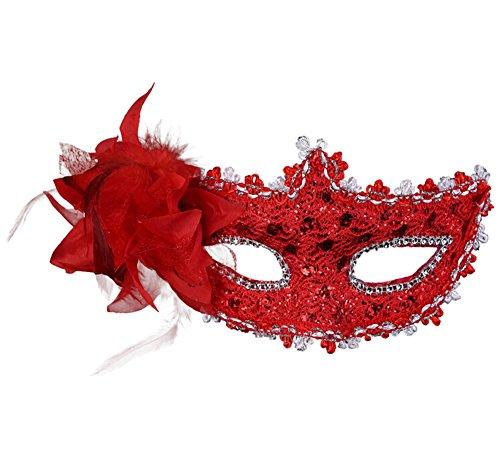 he Maskerade Prinzessin Maske Weiblich Spitze Strasssteine Sequins Blumen Karneval Venezianische Maske Damenmaske Halbmaske Rot (Venezianische Halbmasken)