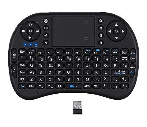 Veemoo 2.4Ghz Mini Kabellos Tastatur mit Touchpad Maus Multimedia Funktionstasten für HTPC / IPTV / Android TV BOX Fernbedienung - Schwarz