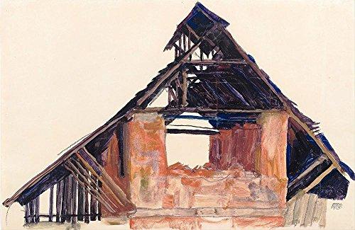Das Museum Outlet–Egon Schiele–Old Giebel, gespannte Leinwand Galerie verpackt. 50,8x 71,1cm