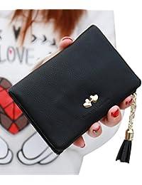 billetera mujer, Webla Mujeres pequeñas bifold cartera de cuero borla colgante bolsa titular de la tarjeta de cuero titular