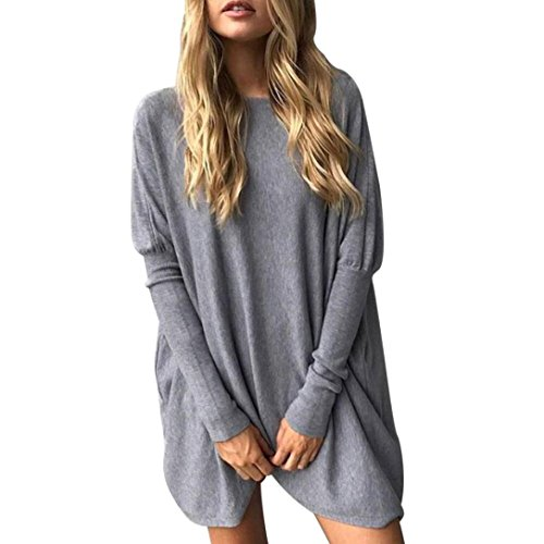 Preisvergleich Produktbild Damen Bluse Dasongff Frauen Langarm Rundhals Lose Bluse Casual Blusen Tops Langarmshirt T-Shirt Tunika Oberteil (Grau,  XL)