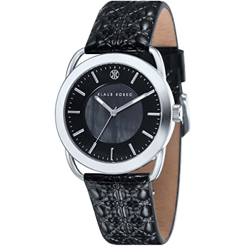 Klaus Kobec KK-10011-01 Ladies Evelyn Black Embross Pattern Leather Strap Watch