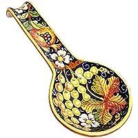 CERAMICHE D'ARTE PARRINI- Ceramica italiana artistica , posamestolo decorazione uva , dipinto a mano made in ITALY Toscana