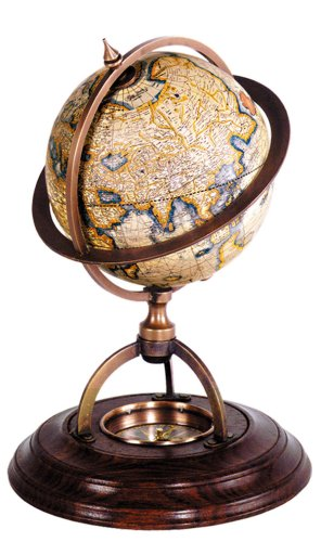 Authentic Models Terrestrial Globe with Compass 0x0x21x14,5 -