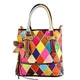 Zongsi Damen Mode Mehrfarbige Echte Lack Leder Handtasche Patchwork Bunte Umhängetasche Einkaufstasche