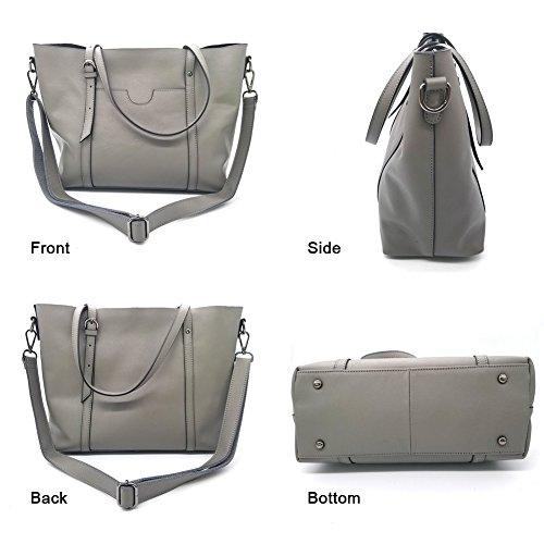 Sacchetti di cuoio genuini di Yoome per le donne Top Handle Borse della cartella della cartella grande borsa delle signore - grigio Grigio