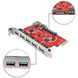 qobobo® SuperSpeed PCI-E a USB 3.0puerto Express Card con 2x USB 3.0de 5puertos en el interior y 1x SATA 15pin Puerto de alimentación