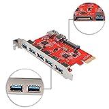 qobobo® Superspeed PCI-E to USB 3.0 5-Port Express-Karte mit 2x USB 3.0 Anschluss Innen und 1x SATA 15 Pin-Stromanschluss