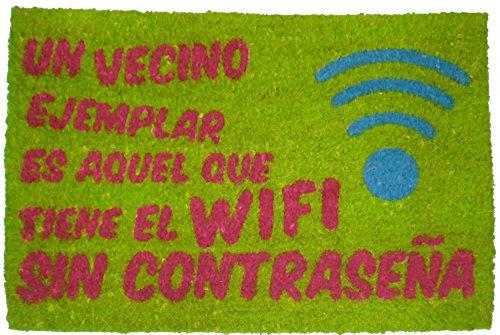 Felpudos Originales con diseño wi-fi, 60 x 40 cm, color coco natural