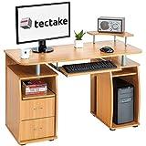 TecTake Computerschreibtisch Bürotisch mit ausfahrbarer Tastaturablage und Zwei Schubladen - Diverse Farben - (Buche | Nr. 401667)