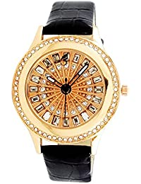 Iveera Analogue Gold Dial Leather Strap Watch For Women And Girls | IV-Glass Dial-BK