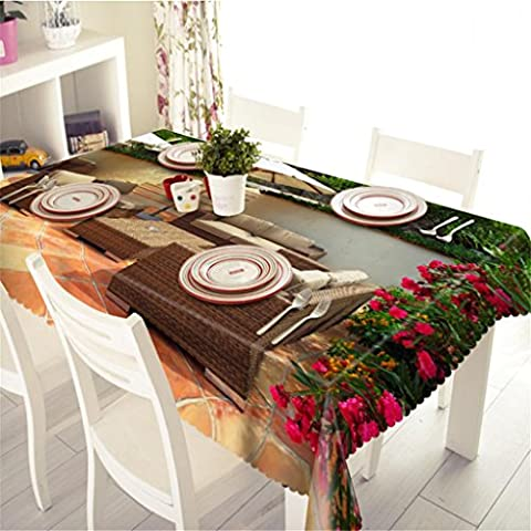 GFYWZ Tablecloth 3D Visual space Small courtyard Swimming pool Beautiful