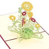 Medigy POP UP Karte 3D Glückwunschkarte Grußkarte mit Sonnenblume, handgefertigt Für die meisten Situationen-Kreatives Geschenk Gelb