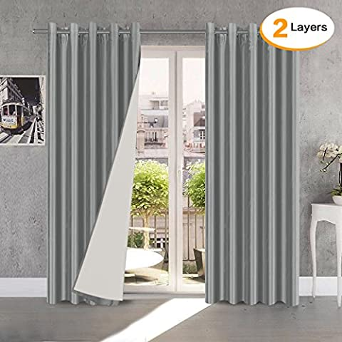 H.Versailtex Luxury Faux Silk Lined Eyelet Thermal Insulated Curtains for Bedroom with Two Free Tie Backs - Grey, 66'' Width x 72'' Drop, Set of 2