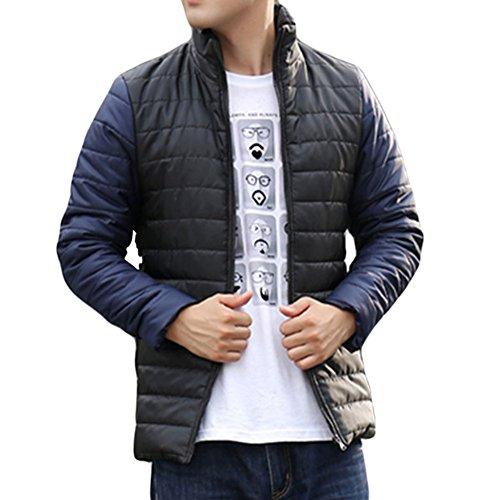 Meijunter Männer Slim Fit Comfort dicken Mantel Wilde Hit Farbe Stitching Baumwolle Sport-Jacke Black