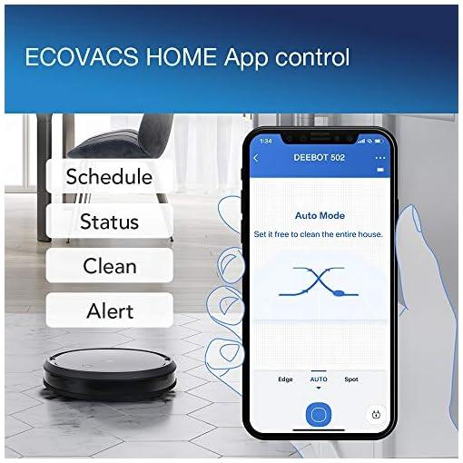 ECOVACS Robotics DEEBOT 502, Robot aspirapolvere, forte potenza di aspirazione, Compatibile con Alexa, Controllo tramite App, adatto a pavimenti duri, tappeti e peli di animali, durata fino a 110 min