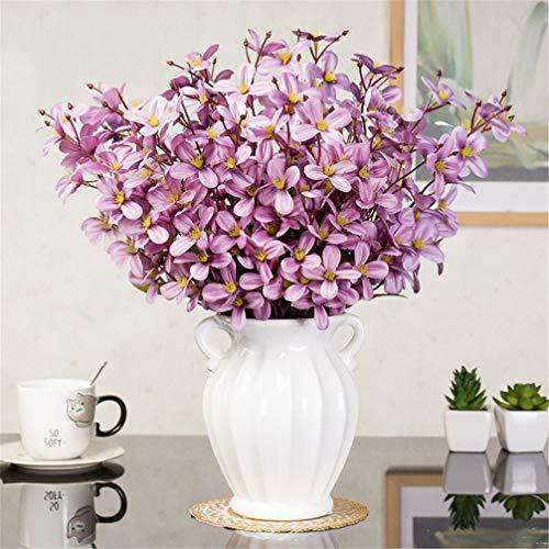 ADLFJGL Kunstblumen Im Topf,Primeln Künstliche Blumen Brauthochzeitssträuße Wohnzimmermöbel Künstliche Blumen Geburtstagsfeier Blumendekorationen Rosa Lila 2