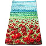 Tyueu Toalla de Mano Toallas de Cara Poppy Field Fabric 100% Cotton, Fade Resistant, Highly Absorbent, Machine Washable, Hotel Quality, Soft Absorbent Towel