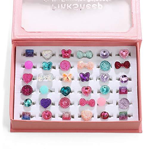 Kleines Mädchen Jewel Rings in Box, einstellbar, Keine Duplizierung (36) (Kleines Wie Up Dress Mädchen Ein)