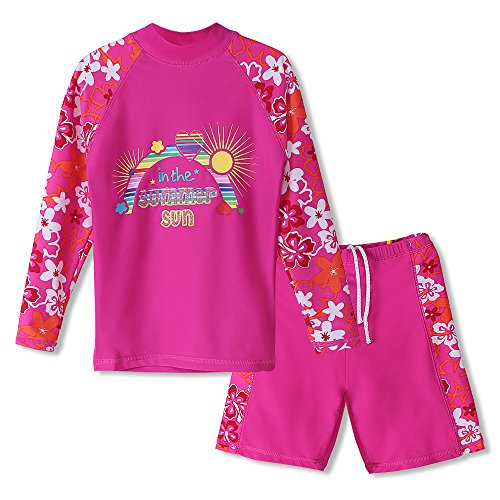 HUANQIUE Girls 2 Pieces HotPink LongSleeve Swimsuit Summmer Print Flower Sun Protection Suit