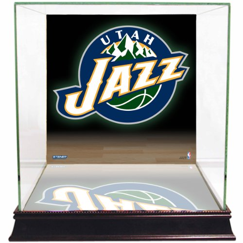 tah Jazz Basketball Glas Display Case mit Team Logo Hintergrund ()