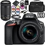Nikon D5600 DSLR Camera with Nikon AF-P DX NIKKOR 18-55mm f/3.5-5.6G VR Lens + Nikon AF-P DX NIKKOR 70-300mm f/4.5-6.3G ED VR Lens 12PC Accessory Bundle - Includes 64GB SD Memory Card + MORE