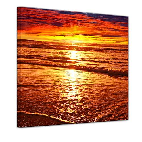Wandbild - Sonnenuntergang - Bild auf Leinwand - 60 x 60 cm - Leinwandbilder - Bilder als Leinwanddruck - Urlaub, Sonne & Meer - Landschaft - prächtiger Sonnenuntergang über dem Meer