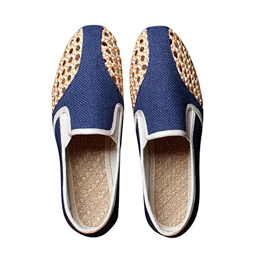 Chaussures HAIZJEN Homme, en Tissu, de Sport Creuses et Respirantes, de Toile en Lin à Fond Mou, rétro
